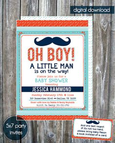 Mustache Little Man Baby Shower Invitation - Digital Download #baby_shower #invitation #mustache