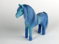 Needle felted horse, felted animal, felted wild animal, natural wool, animal decor, felted gift, horse gift Aquamarine