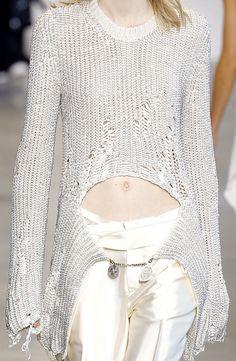 Distressed Sweater - runway knitwear details // Calvin Klein Spring 2016
