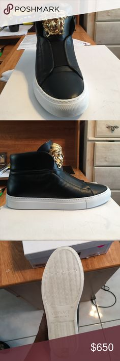 Black  Palazzo High top sneakers for Women. Beautiful Versace High Top Sneakers for Women! All Black leather with a beautiful medusa head on the tongue. A beautiful gift that I never had the chance to wear! These sneakers would be a great edition to anyone who loves a great fashionable shoe. Versace Shoes Sneakers