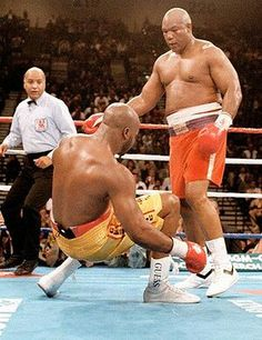 George Foreman wins his second heavyweight crown in 1994 by knocking out Michael Moorer with a quick right uppercut