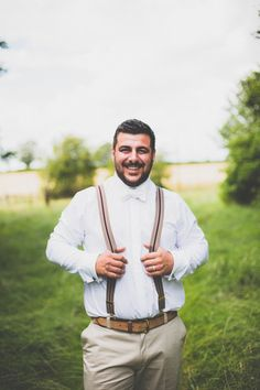 Chinos Braces Bow Tie Groom Rustic Tipi Farm Wedding http://aniaames.co.uk/
