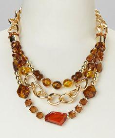 Look at this #zulilyfind! Natural & Gold Tortoise-Bead Bib Necklace #zulilyfinds