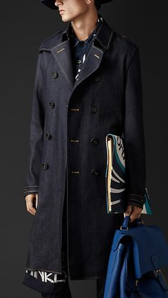 Burberry Prorsum Indigo Raw Denim Trench Coat - A deep indigo Japanese selvedge denim trench coat. The simple, double-breasted design features a belted waist and contrast colour stitching.  Discover the men's outerwear collection at Burberry.com