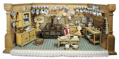 """Home At Last - Antique Doll and Dollhouses: 187 Outstanding German Wooden """"Blue and White"""" Kitchen with Provenance"""