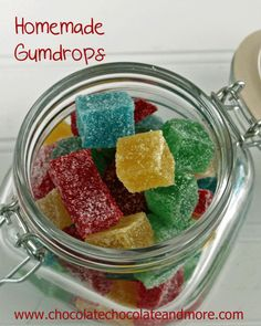Homemade Gumdrops - Chocolate Chocolate and More! I think I'll make some pineapple ones for my sister in law!Homemade Gumdrops - Chocolate Chocolate and More! I think I'll make some pineapple ones for my sister in law! Holiday Treats, Christmas Treats, Christmas Baking, Holiday Candy, Yummy Treats, Sweet Treats, Yummy Food, Homemade Candies, Homemade Gifts