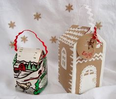 maya*made: simple gifts: milk carton cookie houses - cute for cookie giving gifts