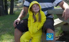 The new EZ Dry Onezie in yellow. The original children's towel onesie.