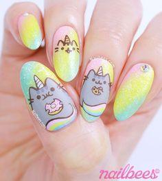 My Pusheen Unicorn nail art! Watch the video on how I created these Pusheen Unicorn inspired nail art. Unicorn Nails Designs, Unicorn Nail Art, Nail Art For Kids, Cool Nail Art, Pusheen Unicorn, Pusheen Cat, Unicorn Cat, Hot Nail Designs, Animal Nail Designs