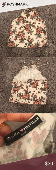 Brandy Melville flower crop top Lightly worn still in perfect condition Brandy Melville Tops Crop Tops
