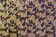 """Fabric Cork Bulletin Boards. Dogs on Black with Gold diagonal message ribbons, 16"""" x 24"""", $50.94, OR,  Your choice of over 1000 fabrics; four standard sizes and custom; with or without message ribbons; and lots more at www.PushPinsAndFabricCorkBoards.com ; subcategory DOGS. Also matching DECORATIVE PUSH PINS. #fabriccorkbulletinboards #decorativepushpins #fabricwallart  #interior designers  #dogs"""