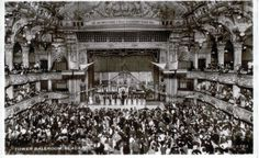 The Tower Ballroom, Blackpool, with the world famous Reginald Dixon at the Mighty Wurlitzer, and the Tower Ballroom Band in the late 1940s.