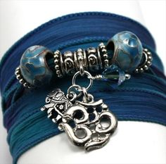 Anjali Blue Orchid Silk Wrap Bracelet with Antique Om and Indian Elephant | www.downdogboutique.com