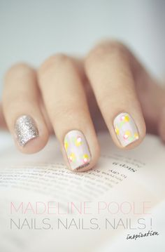 simple floral nails with a glitter accent <3