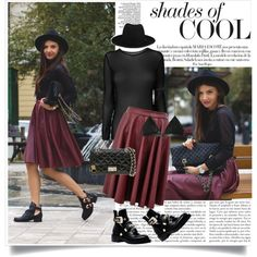 """burgundy skirt"" by lisamichele-cdxci on Polyvore"