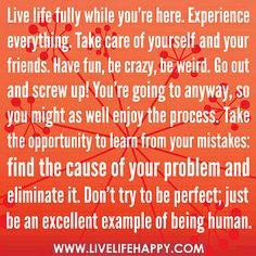 Live life fully while you're here. Experience everything. Take care of yourself and your friends. Have fun, be crazy, be weird. Go out and screw up! You're going to anyway, so you might as well enjoy the process. Take the opportunity to learn from your mi by deeplifequotes, via Flickr