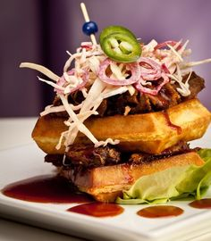 savory waffle w/ smoked pork maple bbq