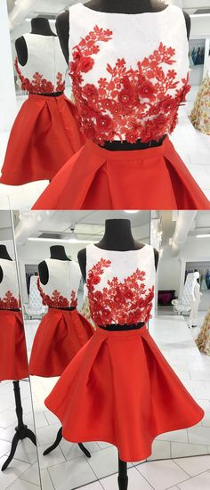 2 piece red lace appliqued homecoming dresses