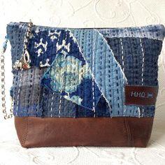 Japanese Sashiko Purse Patchwork Quilt bag Denim quilted