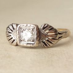Art Deco Winged Diamond Solitaire Engagement Ring by luxedeluxe