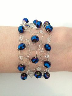 """7"""" Handmade Knitted Silver Wire Bracelet Deep Blue Crystals Ladies Women's Girl Jewelry Birthday Present Gift For Her"""