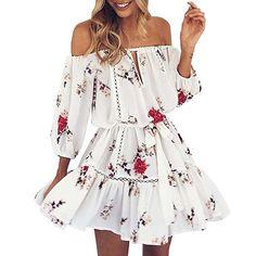 0281ff38fab6 Damen Kleid Jaysis Sommer Off Schulter Blumenmuster Party Strand Kurz  Minikleid (S, Weiß)