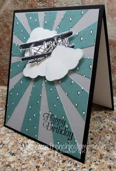 Hello Friends It's Monday so it's time for a masculine card. This time I'm using the new Sunburst Thinlits with the Sky the Limit. I have the video on my You Tube Channel and on my Blog. The video