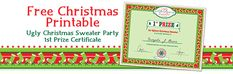 Free Christmas Printable Ugly Christmas Sweater Party Prize Certificate