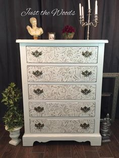 How to Get an Elegant Painted Shabby Chic Stenciled Dresser from a boring brown vintage chunky dresser. Add an elegant gold stencil to a painted dresser - April 20 2019 at Shabby Chic Bedrooms, Shabby Chic Homes, Shabby Chic Style, Shabby Chic Furniture, Shabby Chic Decor, Bedroom Furniture, Farmhouse Furniture, Office Furniture, Bedroom Dressers