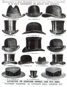 1920 Types of Mens Hats- Tops Hats, Bowlers, Homburgs, straw Boaters vintagedancer com