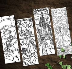 Beauty and the Beast Stained Glass Bookmarks   by MirkwoodScribes