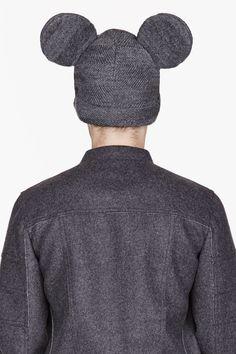 COMME DES GARÇONS HOMME PLUS Grey HERRINGBONE Mouse Ears peaked beanie