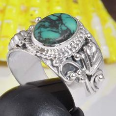 HOT SELLING 925 STERLING SILVER TURQUOISE EXCLUSIVE RING 5.49g DJR9463 SZ-6 #Handmade #Ring