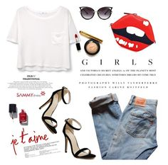 """""""Je t'aime"""" by purpleagony on Polyvore featuring Levi's, MANGO, Kerr®, Chanel, jeans, whiteshirt, timeless and sammydress"""