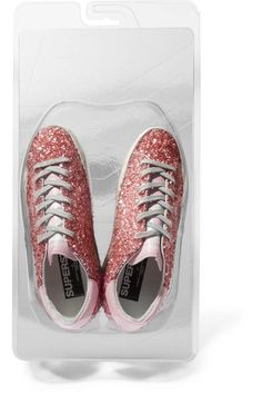 Golden Goose Deluxe Brand - Superstar Distressed Leather-paneled Glittered Rubber Sneakers - Pink