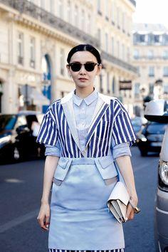 Street Style of Paris: Sherry Shen wearing sacai /MARC BY MARC JACOBS /MIU MIU /TOD'S   Fashionsnap.com