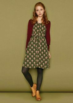 Cute dress. Love it with the tights and burgundy cardi.
