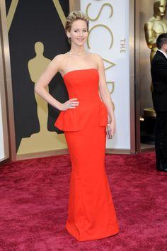 JLaw's peplum dress - Oscars - 2014