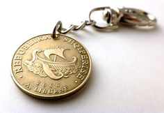 Albanian Coin keychain Nautical keychain Ship by CoinStories