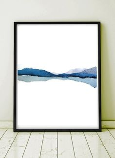 Abstract Landscape Watercolor Painting, Modern Watercolor Print Art, Water Painting in Blue Gray White, Mountain Reflection, Subtle Art - Art Painting Landscape Prints, Watercolor Landscape, Landscape Art, Landscape Paintings, Art Paintings, Indian Paintings, Painting Art, Simple Watercolor, Watercolor Paintings Abstract
