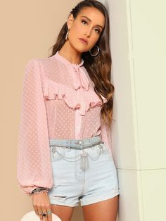 Romantic Plain Shirt Regular Fit Long Sleeve Bishop Sleeve Placket Pink and Pastel Regular Length Tie Neck Ruffle Front Swiss Dot Top Sexy Blouse, Tie Blouse, Ruffle Blouse, Modest Fashion, Fashion Outfits, Casual Outfits, Cute Outfits, Pastel Fashion, Skirts