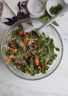 Add purslane to this Cherry Tomato Bulgar Salad!
