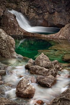 The Fairy Pools, a series of crystal clear pools created by the Allt Coir' a' Mhadaidh river as it cascades down from the Cullin Hills, Glen Brittle, Isle of Skye, Inner Hebrides, Scotland, UK. February.