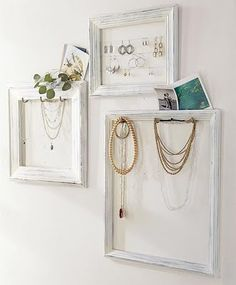 If you have the wall space, this is a great way to make your jewellery look like art. Staple gun some mesh to old picture frames and then bend up some wire to hang your jewellery from. It will keep your chains from tangling in a jewellery box and make a pretty display.