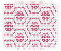 To Read Crochet Patterns Staggered Bordered Hexagons - Tapestry Crochet Pattern. Find this free pattern and more at AllTapestryCroche. Tapestry Crochet Patterns, Crochet Motifs, Crochet Diagram, Crochet Chart, Filet Crochet, Diy Crochet, Crochet Stitches, Pixel Pattern, Hexagon Pattern