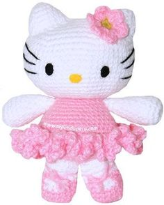 Tutorial: hello kitty bailarina tejida a crochet (amigurumi) - Hello kitty ballet dancer and like OMG! get some yourself some pawtastic adorable cat shirts, cat socks, and other cat apparel by tapping the pin! Crochet Hello Kitty, Hello Kitty Crafts, Chat Hello Kitty, Chat Crochet, Crochet Mignon, Crochet Baby, Crochet Geek, Crochet Patterns Amigurumi, Amigurumi Doll