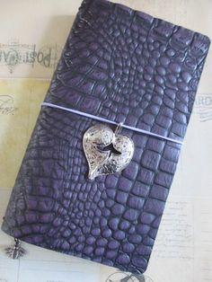 Regular size traveler's notebook in stunning purple mock croc