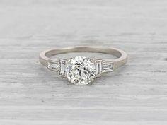 1.04 Carat Art Deco Diamond Engagement Ring