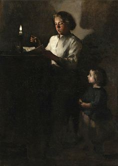 Theodule Augustin Ribot (8 Aug 1823-1891) - Reading by candlelight