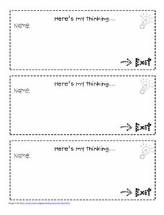 simple version of an exit slip. 2nd Grade Teacher, Teaching First Grade, Teaching Reading, Teaching Ideas, Classroom Organization, Classroom Management, Exit Tickets, Exit Ticket Template, Exit Slips
